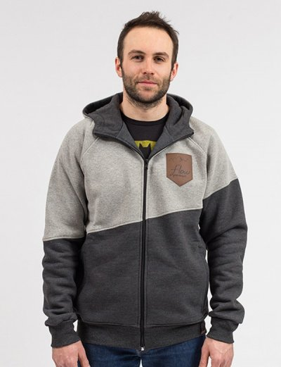 sweatshirt with hood gray men's graphite - front