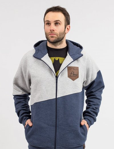 sweatshirt with hood men's navy gray - front
